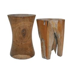 Pair of Side Tables Made in Fossil Wood