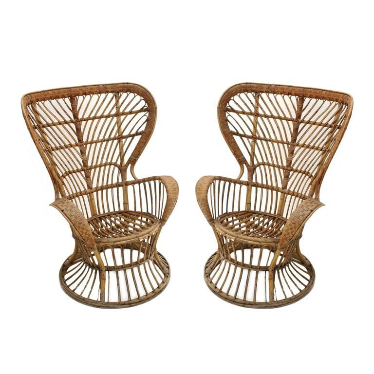 Armchair model Conte Biancamano, designed by Carminati althout was attributed to Gio Ponti, and edited by Pierantonio Bonacina. Made of rattan and natural fibre.
