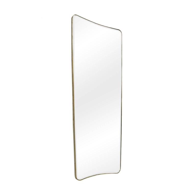 Pair of dressing mirrors in Gio Ponti style, with structure made of wood and frame in brass tube, Italy.