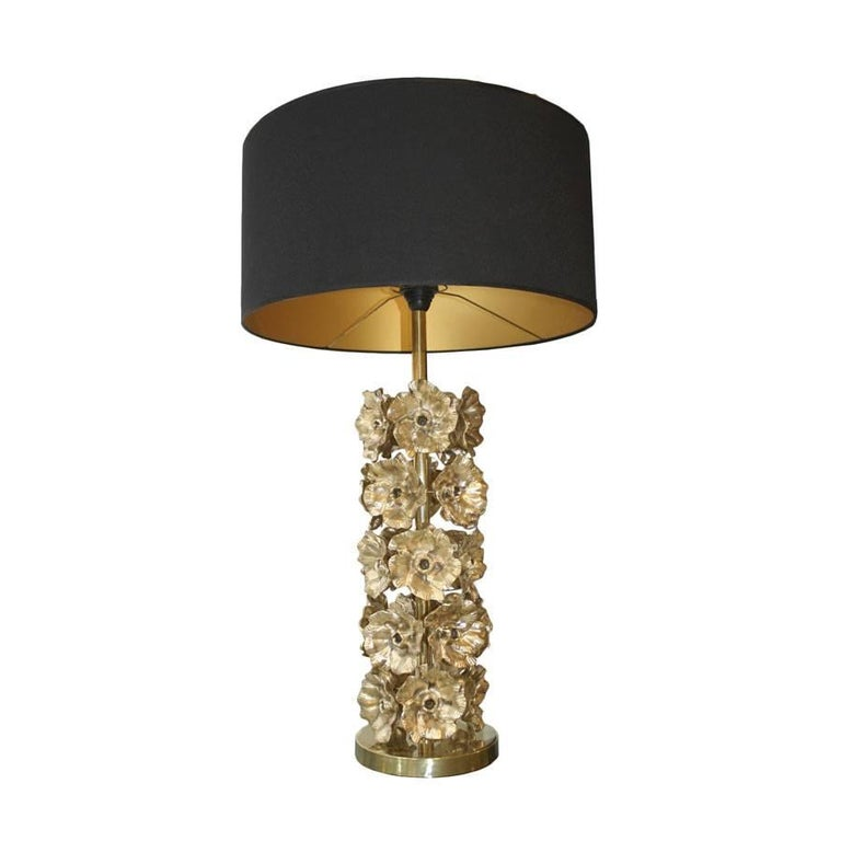 Pair of table lamps made in patinated bronze decorated with handmade floral motifs. Black chinz screens with gold interior, Italy.