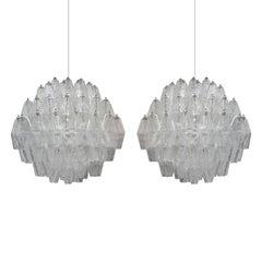 """Suspension Lamps Model """"Poliedri"""" Designed by Carlo Scarpa and Edited by Venini"""