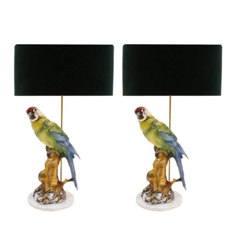 Pair of Italian Table Lamps Type Capodimonte For Sale