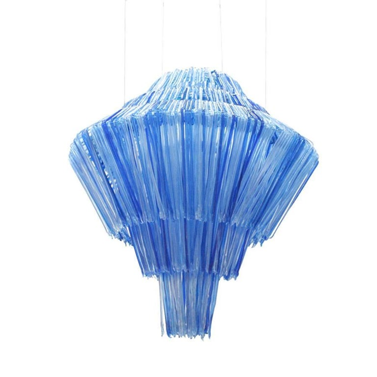 Suspension lamp designed by Jacopo Foggini model Brilli B, made in methacrylate cast in different shades of blue.