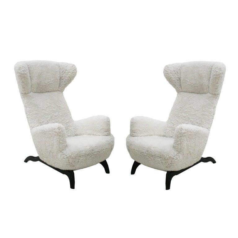 Pair of Carlo Mollino Chairs Mod. Ardea 882 Edited by Zanotta