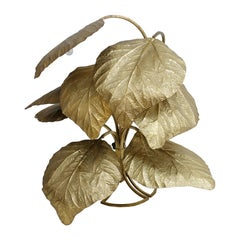 Tommaso Barbi Floor Lamp Composed of Leaves Made in Brass, Italy, 1970s