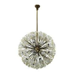 Emil Stejnar Sputnik Murano Glass and Metal Suspension Lamp, Vienna 1960s