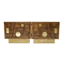 L.A. Studio Brass and Oak Wood Brutalist Sideboard, Italy