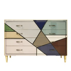 L.A. Studio Mid-Century Modern Murano Glass Sideboard, Italy, 1950s