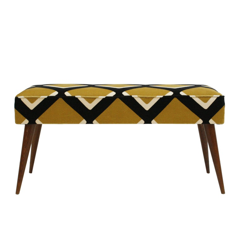 Pair of benches made of teak, with conical legs and upholstered in pattern cotton velvet model
