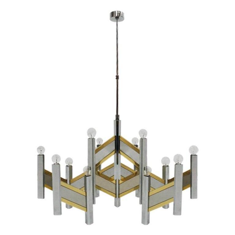 "Pending Lamp Mod ""Concorde"" Designed by Gaetano Sciolari For Sale"
