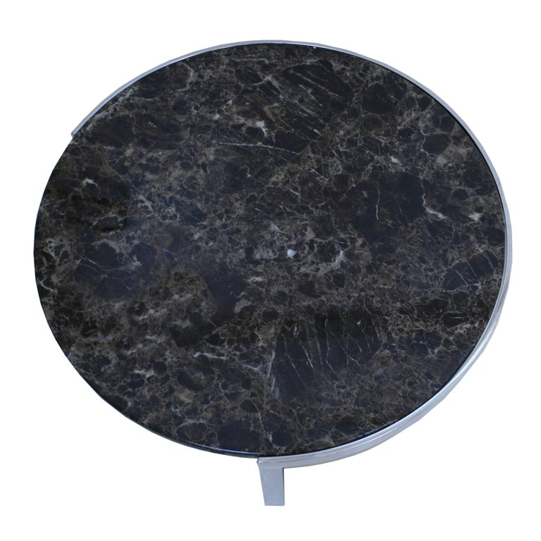 French Marble Circular Coffee Table With Polished Steel Base For Sale