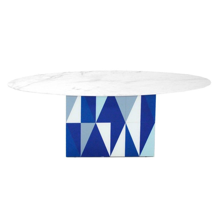 Crystal Contemporary Wood Spanish Dining Table with Marble Top after Gio Ponti For Sale