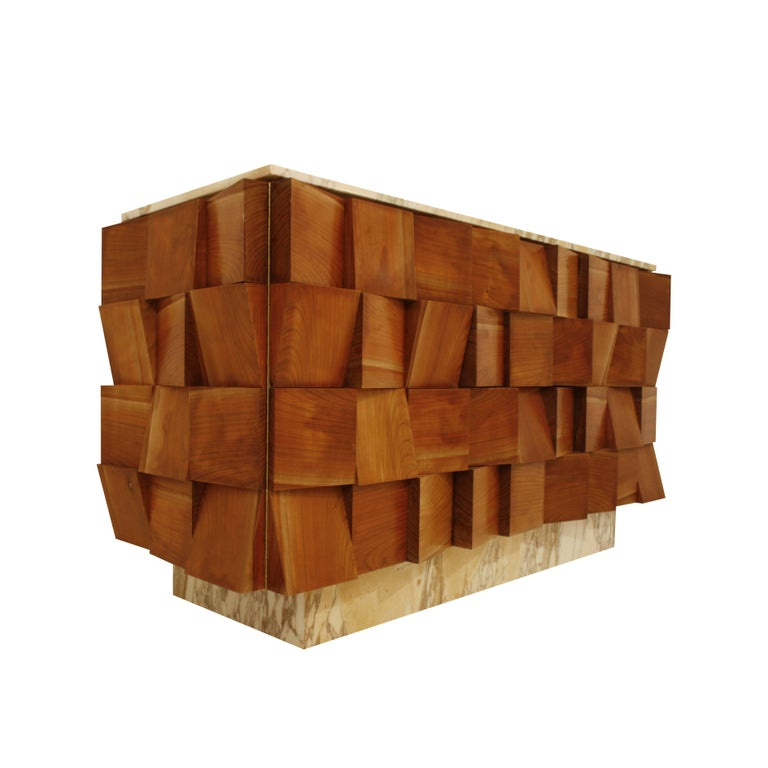 Contemporary L.A. Studio Sideboard Made in Florentine Marble and Solid Birchwood, Italy For Sale