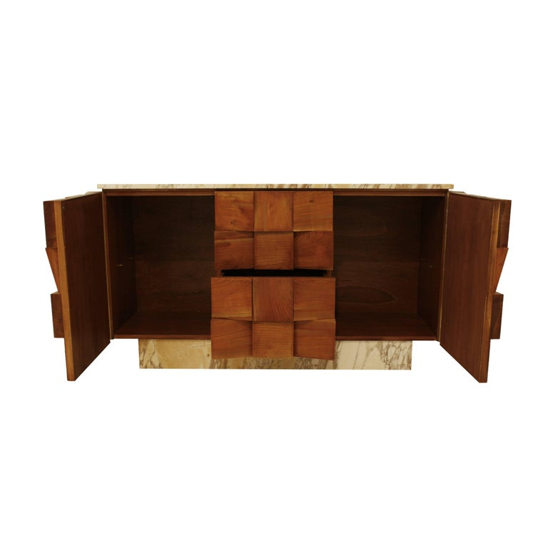 Carrara Marble L.A. Studio Sideboard Made in Florentine Marble and Solid Birchwood, Italy For Sale