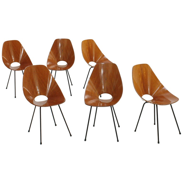 """Set of Six Chairs Model """"Medea"""" by Vittorio Nobili, Italy, 1955 For Sale"""
