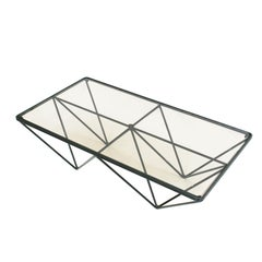 Paolo Piva Glass Top and Metal Base Coffee Table, Italy, 1970s