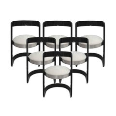 Willy Rizzo Set of Six Black Lacquered Wood and Gray Upholstery Chairs. Italy 70