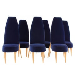Midcentury Set of Six Blue Velvet and Birchwood Zoomorphic Chairs, France, 1970s