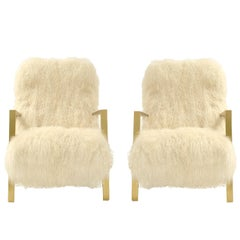L.A. Studio Contemporary Pair of White Mongolian Goat and Brass Armchairs