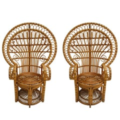 Mid-Century Modern Craft Pair of Bamboo Armchairs, France, 1960s