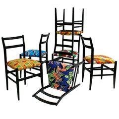 "Gio Ponti Set of Twelve Black Lacquered Ashwood ""Leggera"" Chairs, Italy, 1970s"