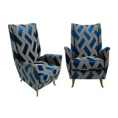 Gio Ponti Pair of Solid Wood Linen and Cotton Armchairs, Italy, 1950s