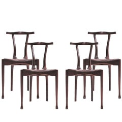 "Oscar Tusquets Mid Century Modern Wood and Leather ""Gaulino"" Spanish Set Chairs"