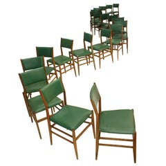 "Gio Ponti Midcentury Set of Twenty Ash Wood ""Leggera"" Chairs, Italy, 1950s"