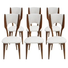 Paolo Buffa Set of Six Rosewood and White Cotton Fabric Chairs, Italy, 1950s