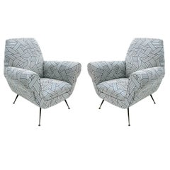Gigi Radice Pair of Cotton Fabric and Black Lacquered Armchairs, Italy 1950s