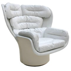 "Joe Colombo Fiberglass And White Leather Swivel ""Elda"" Italian Lounge Chair."
