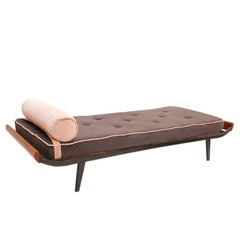 "Dick Cordemeijer Rosewood and Wool Fabric ""Cleopatra"" Daybed. Netherlands"