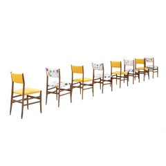 "Gio Ponti Set of Twelve ""Leggera"" Ash Wood and Linen Chairs, Italy, 1951"