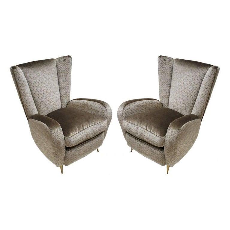 Mid-Century Modern Pair of Velvet and Bronze Italian Armchairs, 1950s For Sale