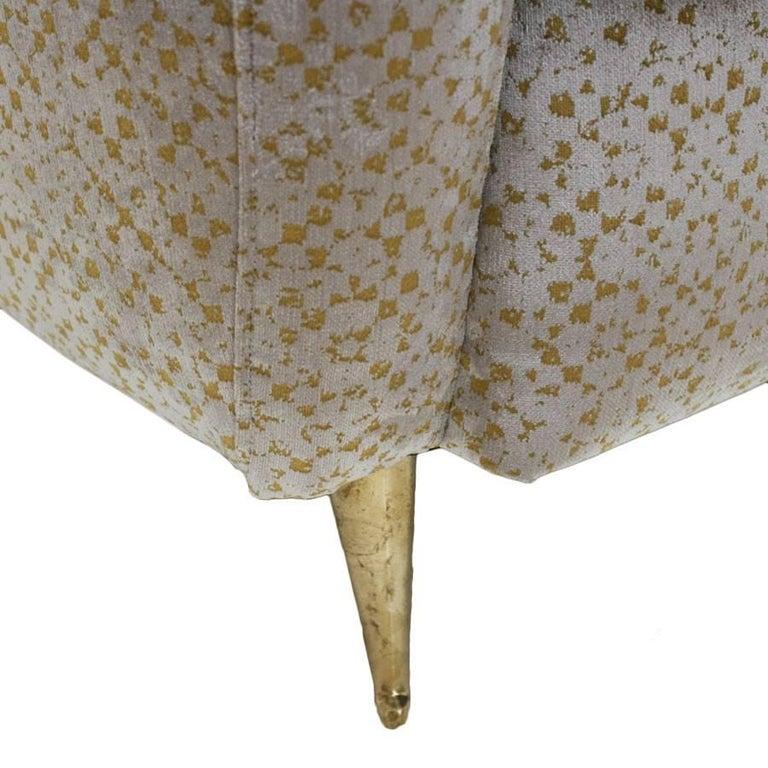 Mid-Century Modern Pair of Velvet and Bronze Italian Armchairs, 1950s For Sale 1