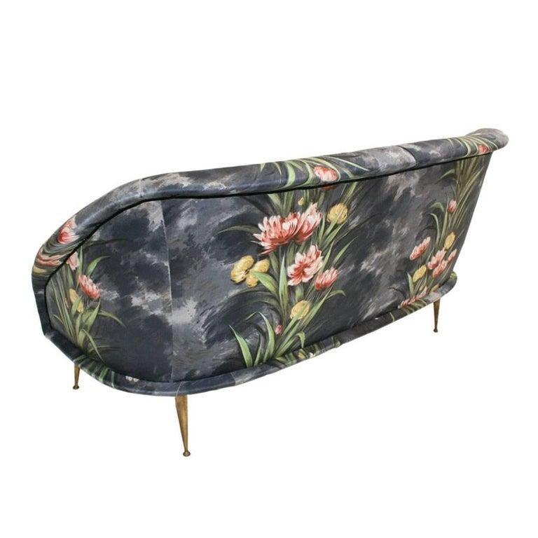 Mid-Century Modern Bronze and Original Upholstery Italian Sofa, 1950s