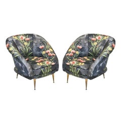 Mid-Century Modern Pair of Bronze and Original Upholstery Armchairs Italy, 1950s