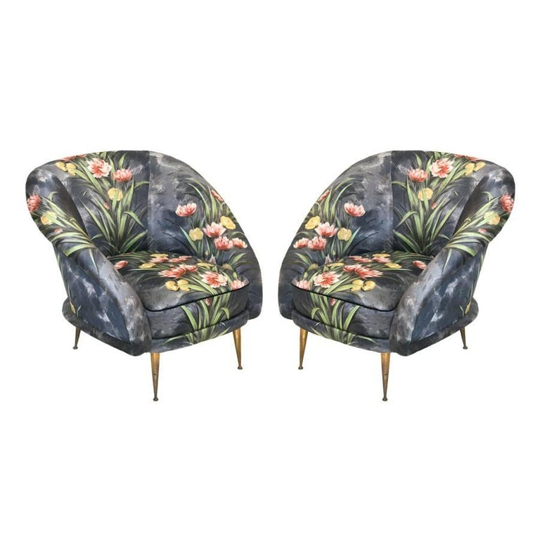 Mid-Century Modern Pair of Bronze and Original Upholstery Italian Armchairs  For Sale