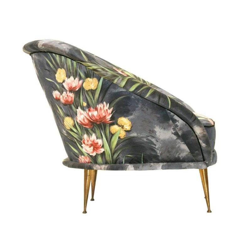 Hand-Painted Mid-Century Modern Pair of Bronze and Original Upholstery Italian Armchairs  For Sale