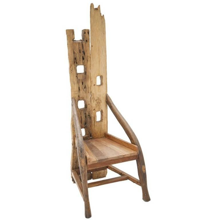 Midcentury Sculptural Olive Wood and Walnut French Chair For Sale