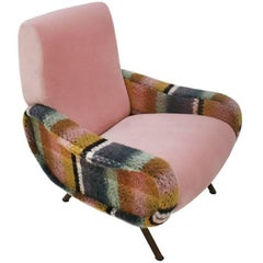 "Marco Zanuso Pink Velvet and Wool Fabric ""Lady"" Armchair, Italy, 1960s"