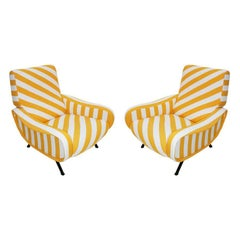 """Marco Zanuso Pair of Cotton Fabric and Black Metal """"Lady"""" Armchairs, Italy"""