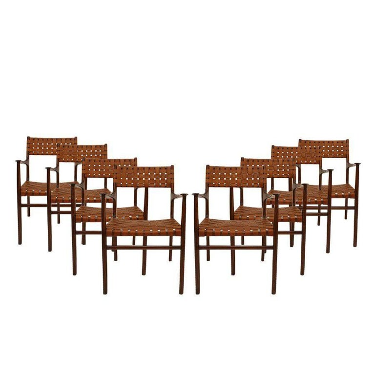 Jens Risom Mid-Century Modern Set of Eight Chairs, USA 1950s For Sale