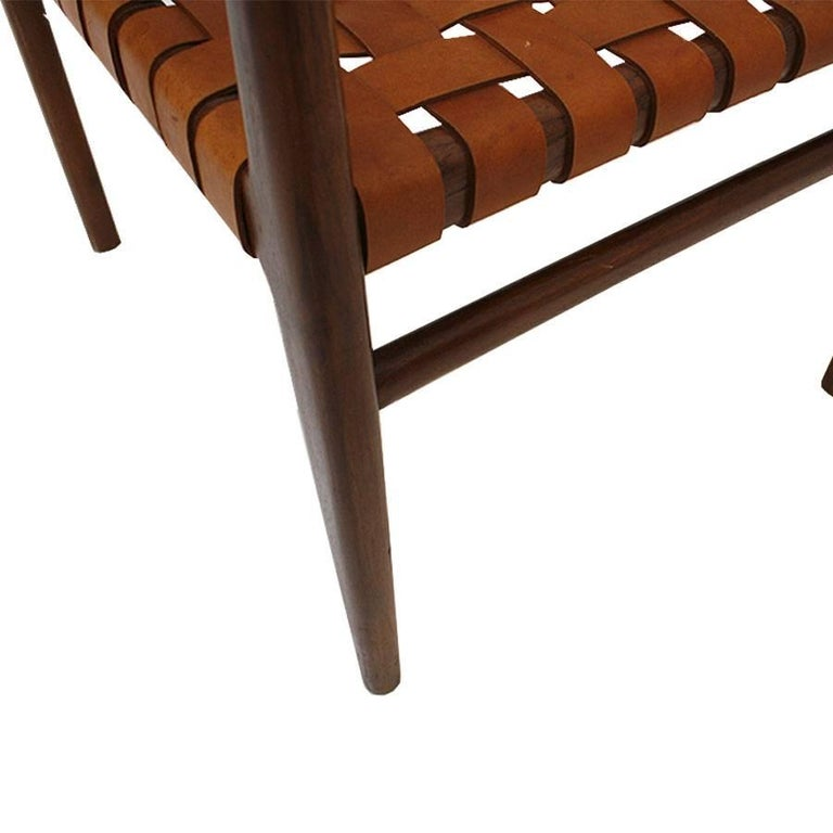 Leather Jens Risom Mid-Century Modern Set of Eight Chairs, USA 1950s For Sale
