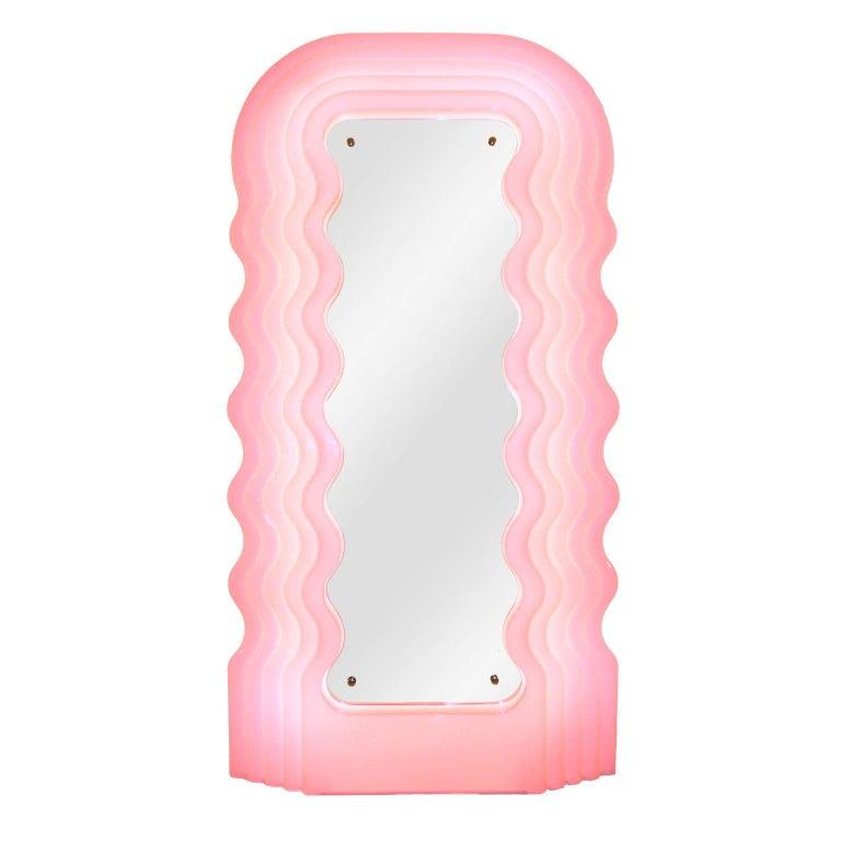 "Ettore Sottsass Perplex and Pink Neon Lamp ""Ultrafragola"" Italian Mirror For Sale"
