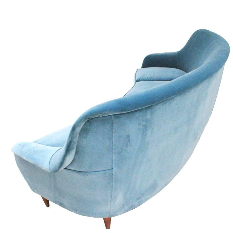 Italian Midcentury Curved Sofa For Sale
