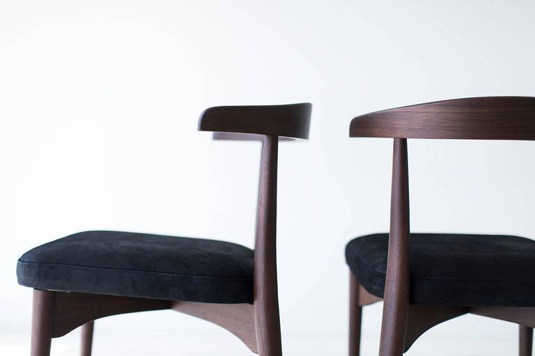 Designer: Lawrence Peabody  Manufacturer: Craft Associates furniture Period/Model: Mid-Century Modern Specs: Walnut, leather   These Lawrence Peabody dining side chairs P-1709 are expertly handcrafted and upholstered. These Peabody chairs are
