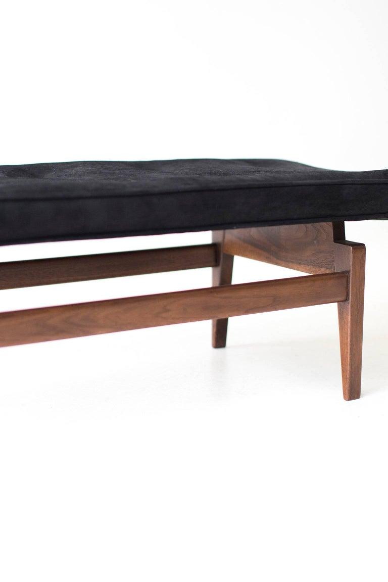 Leather Jens Risom Bench for Risom Design Inc. For Sale