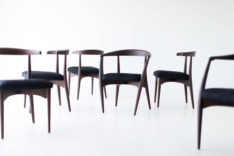 Lawrence Peabody dining chairs for Craft Associates - quick ship. All show samples are in excellent condition. This set includes four side chairs and six armchairs in high grade leather.   These Lawrence Peabody dining chairs for Craft Associates