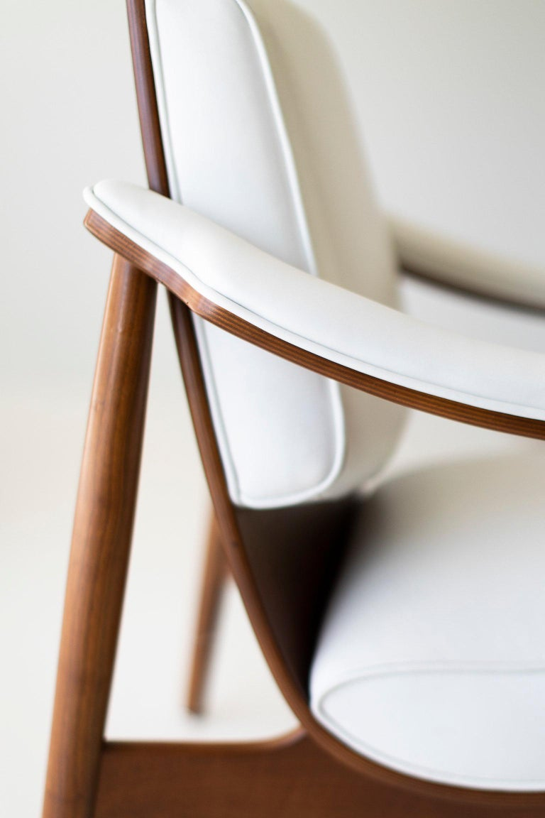 Designer: Unknown  Manufacturer: Thonet Period and Model: Mid-Century Modern Specs: Walnut, leather  Condition  These modern Thonet lounge chairs are in excellent restored condition. The wood has been professionally cleaned and shows very